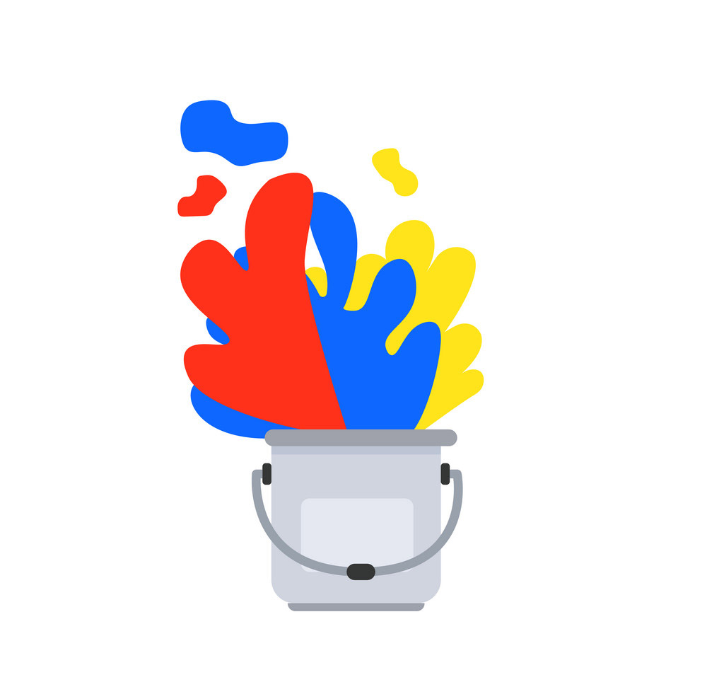 Paint bucket with Primary color art vector design.Color spread i